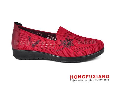 鸿福祥布鞋女鞋HL140236红色