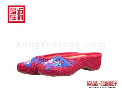 鸿福祥布鞋女鞋X257228红色凉鞋