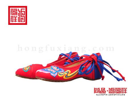 鸿福祥布鞋女鞋N257222红色汉舞鞋
