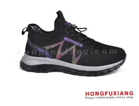 鸿福祥布鞋女鞋HL780650@黑紫